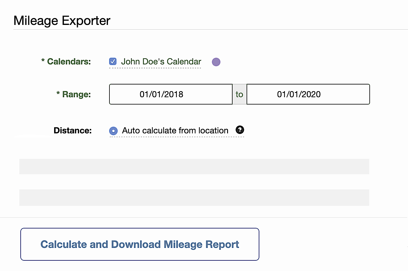 Calculate mileage from calendar events