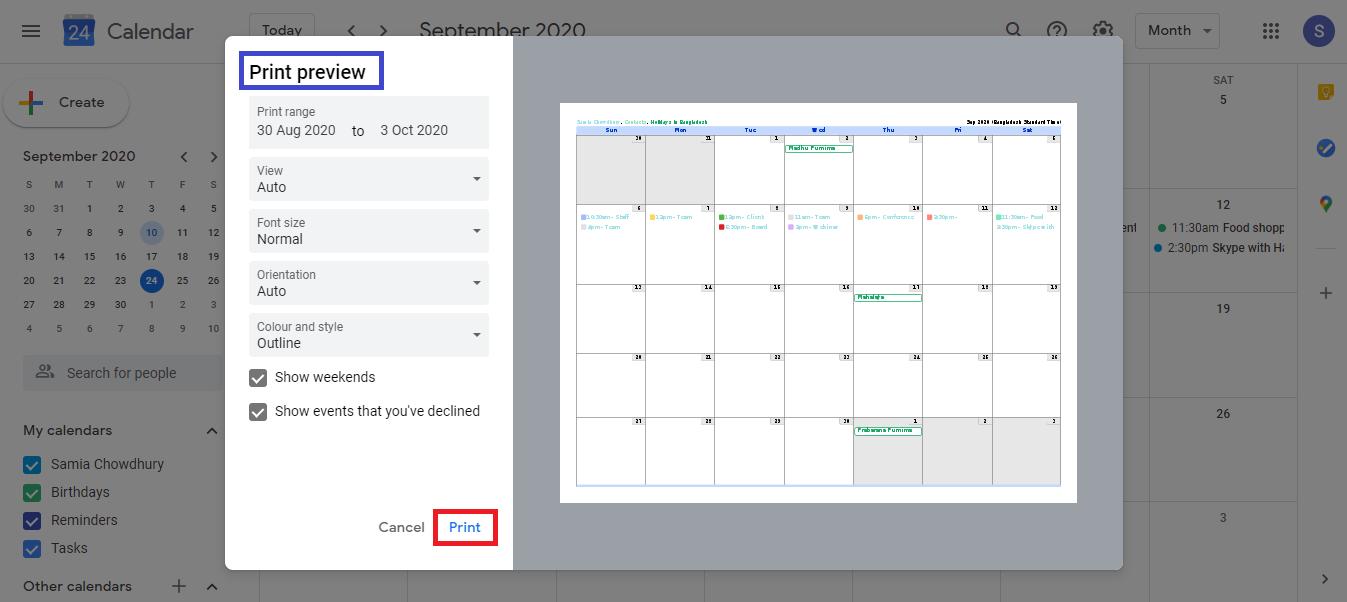 Calendar Print Preview