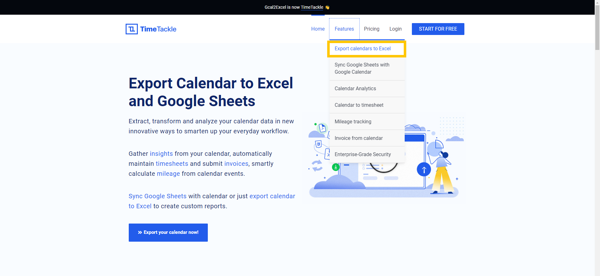 From the features drop down menu select export calendar to excel now.