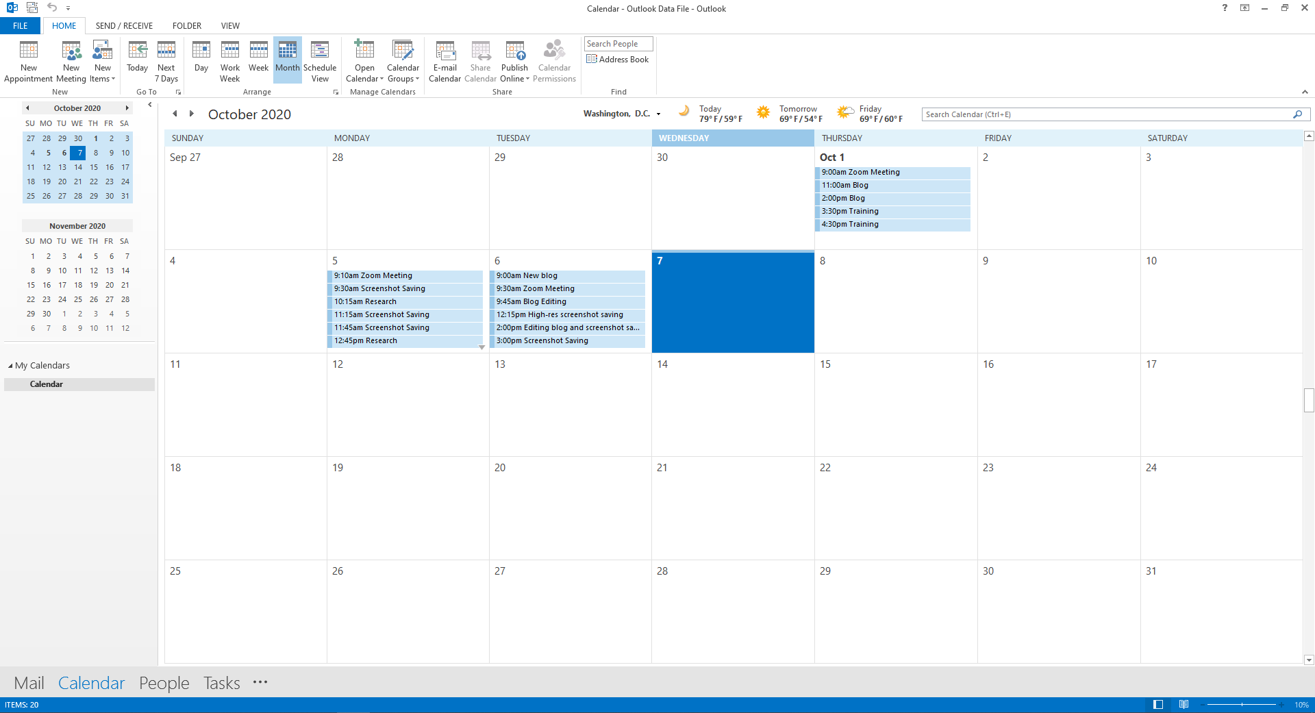 Select Import and voila, you will find your Google Calendar events in your Outlook calendar!
