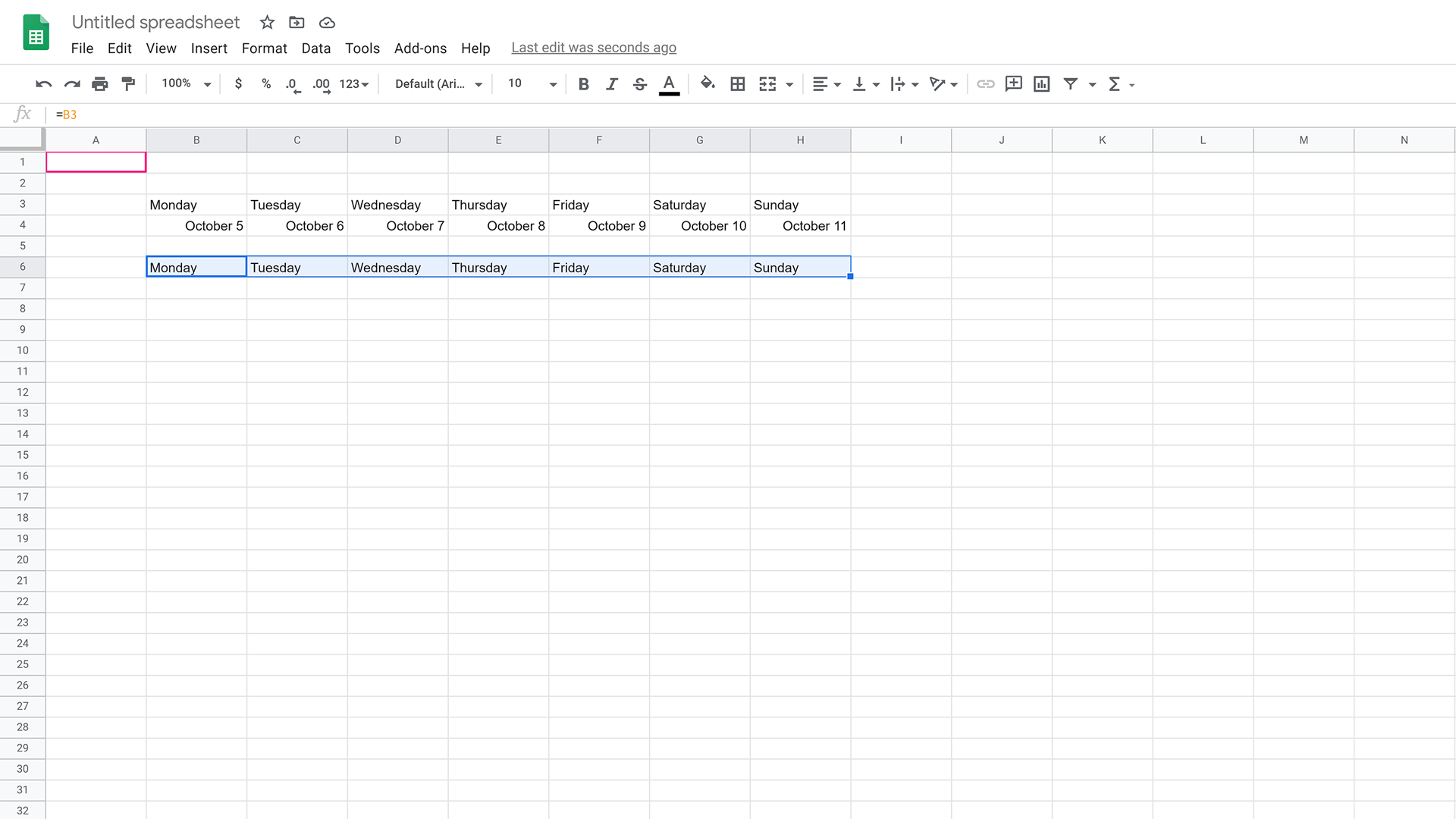 Repeat the click and drag process to fill in the weekdays automatically.