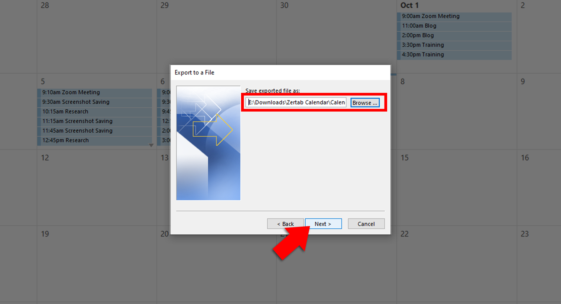 From the Browse button, fill in the File Name field, select the location of the exported file, and click OK.