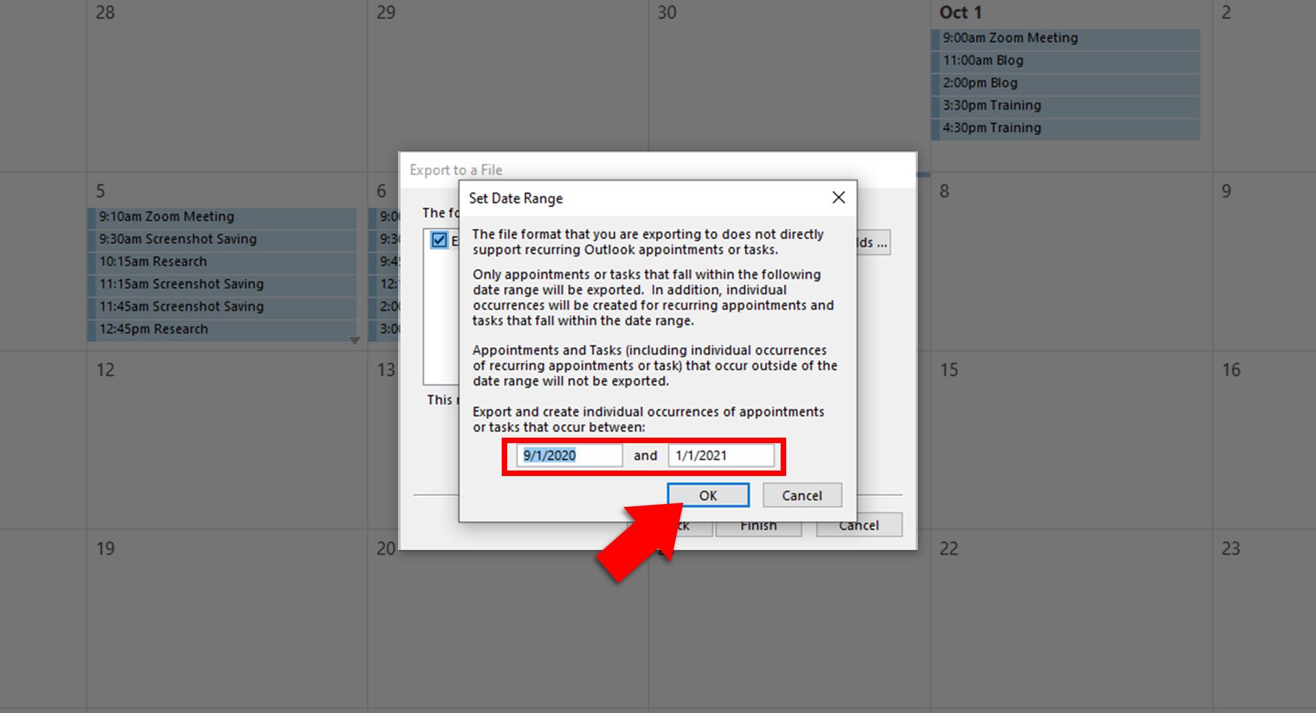 Set date range and click Ok.