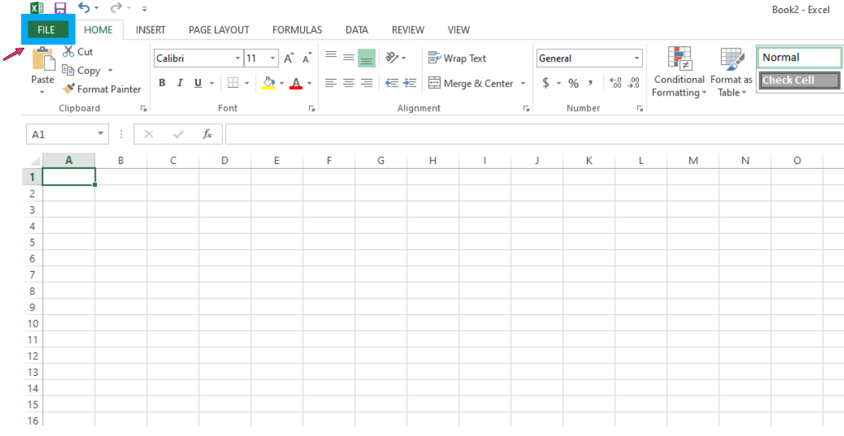 Now, open a new Excel sheet. On the top-left corner, click the File tab, choose the Open option, and locate your Google calendar ICS file. From the lower right drop-down menu, choose the All Files option, otherwise, the file won't show.