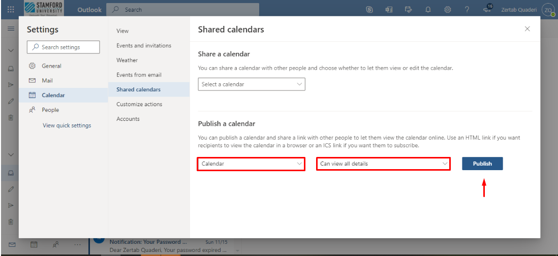 "Under Publish a calendar, select Calendar and select ""Can view all details"""