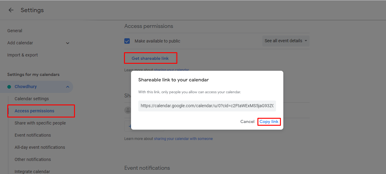 get shareable link button to copy the link and share