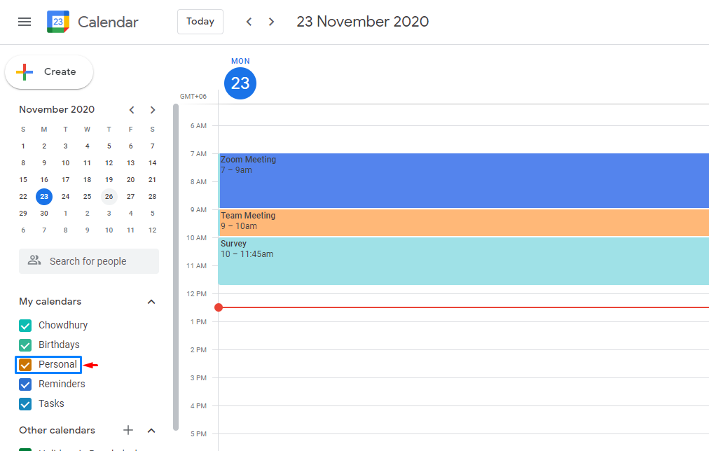 You will find your new calendar added to the list of your current calendars on the left side panel.