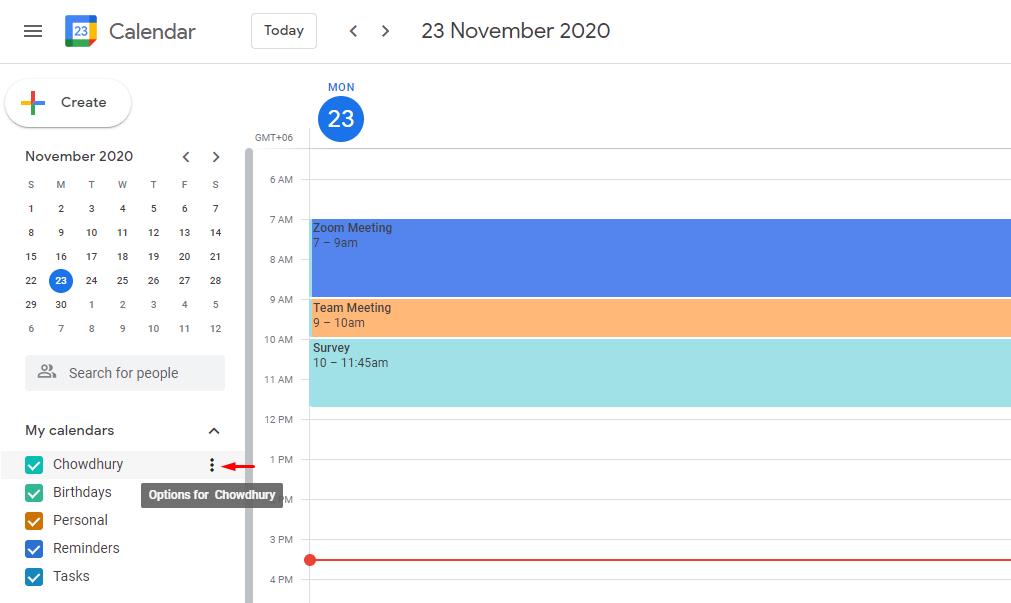 Open your Google Calendar