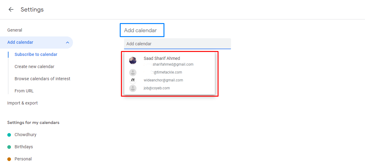 Under Add calendar, you can click on the name and email addresses of people whose calendars you want to be linked to.