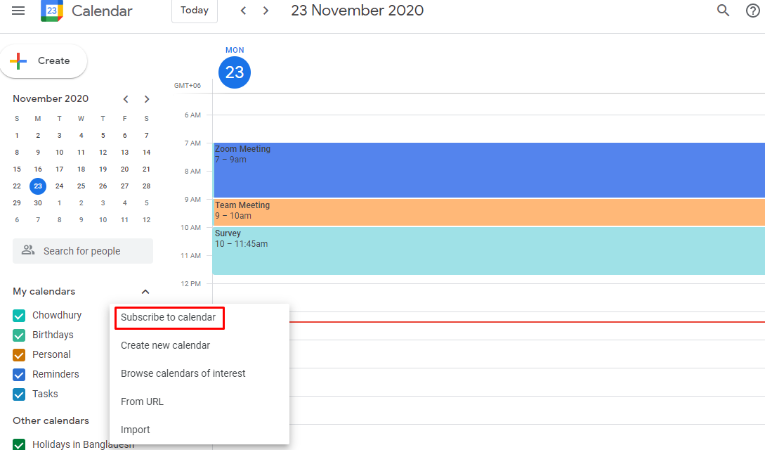 Choose subscribe to calendar from the pop-up window