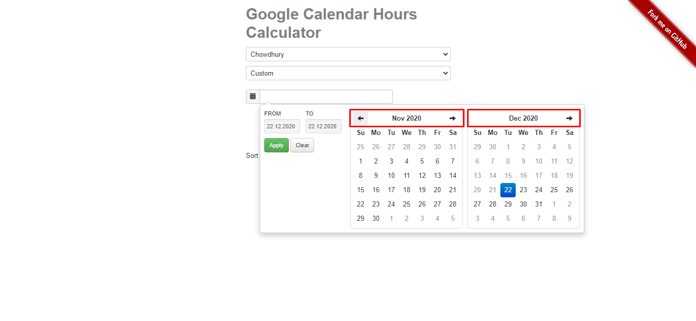 Set the date range