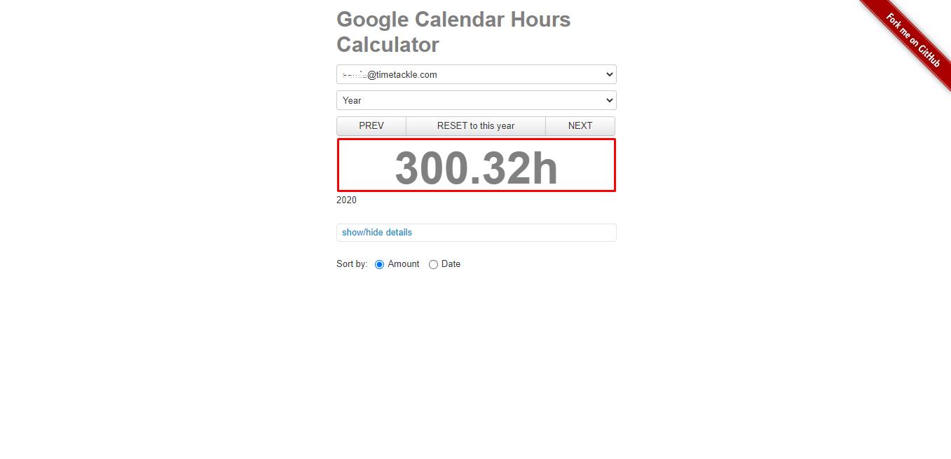 Google Calendar Hours calculator