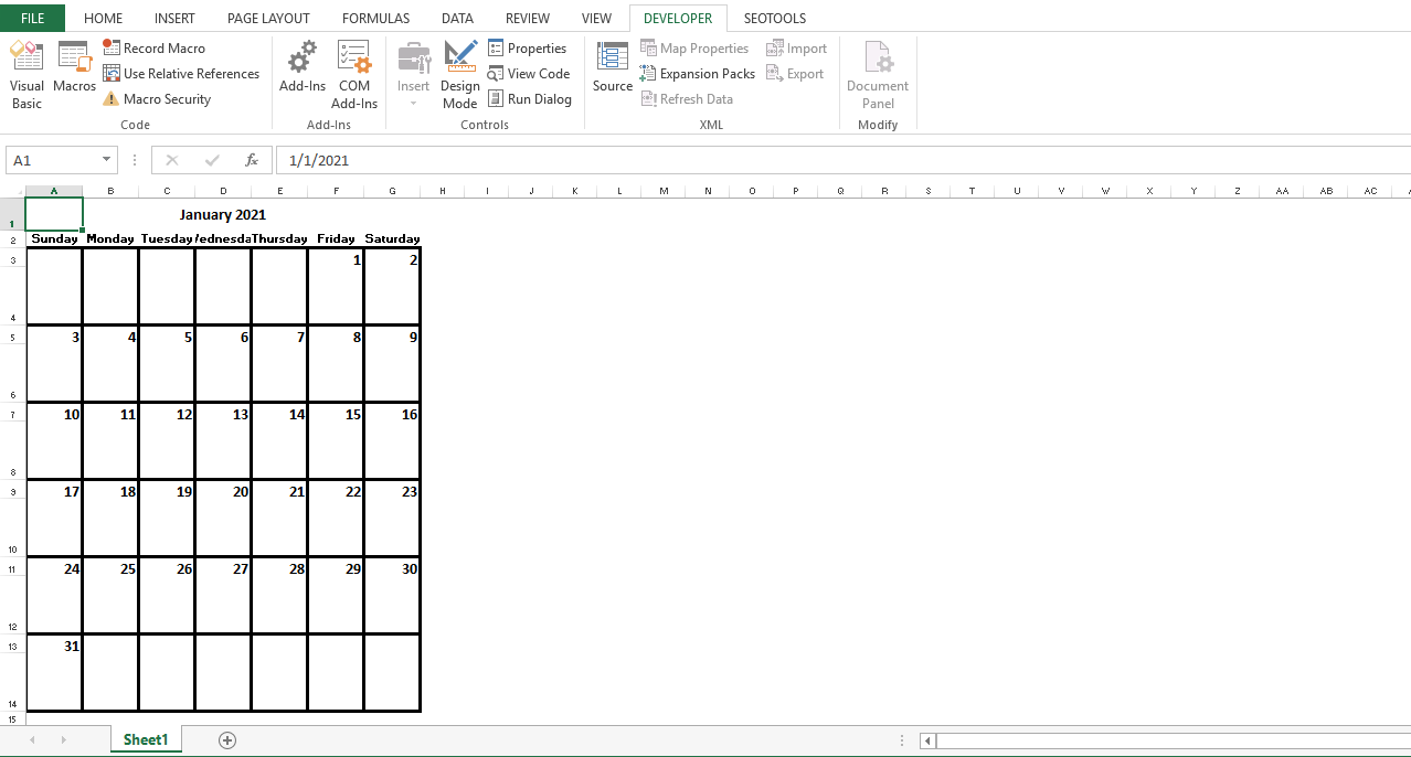 The desired month and the year will be shown on the Excel sheet.