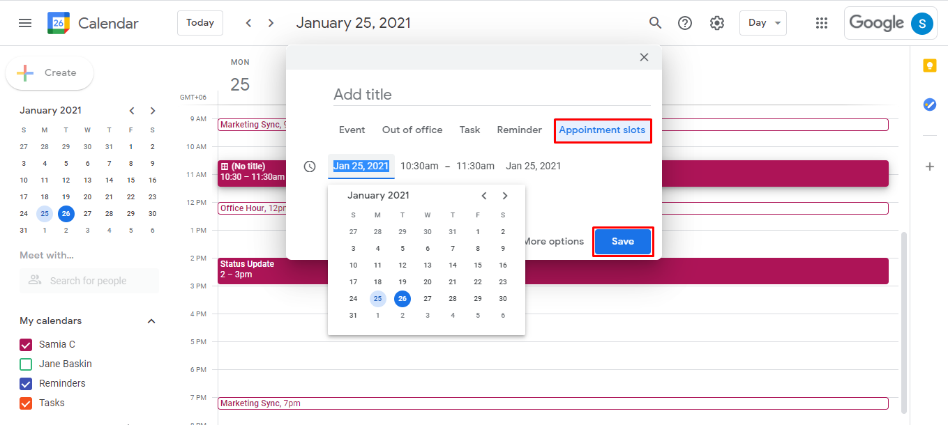 Click on any time slot in your google calendar view and when the window for adding event details appears, click on Appointment slots. Adjust the date range by clicking on the month and times.
