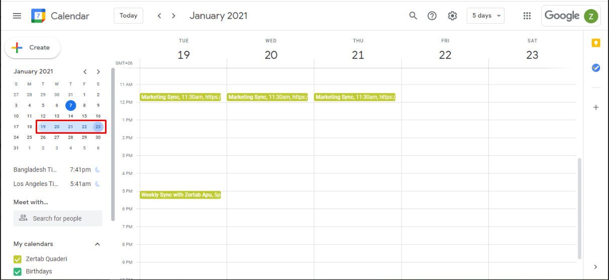 If you want to view a block of dates from Google calendar, just click and drag the dates from the calendar widget on the left side.