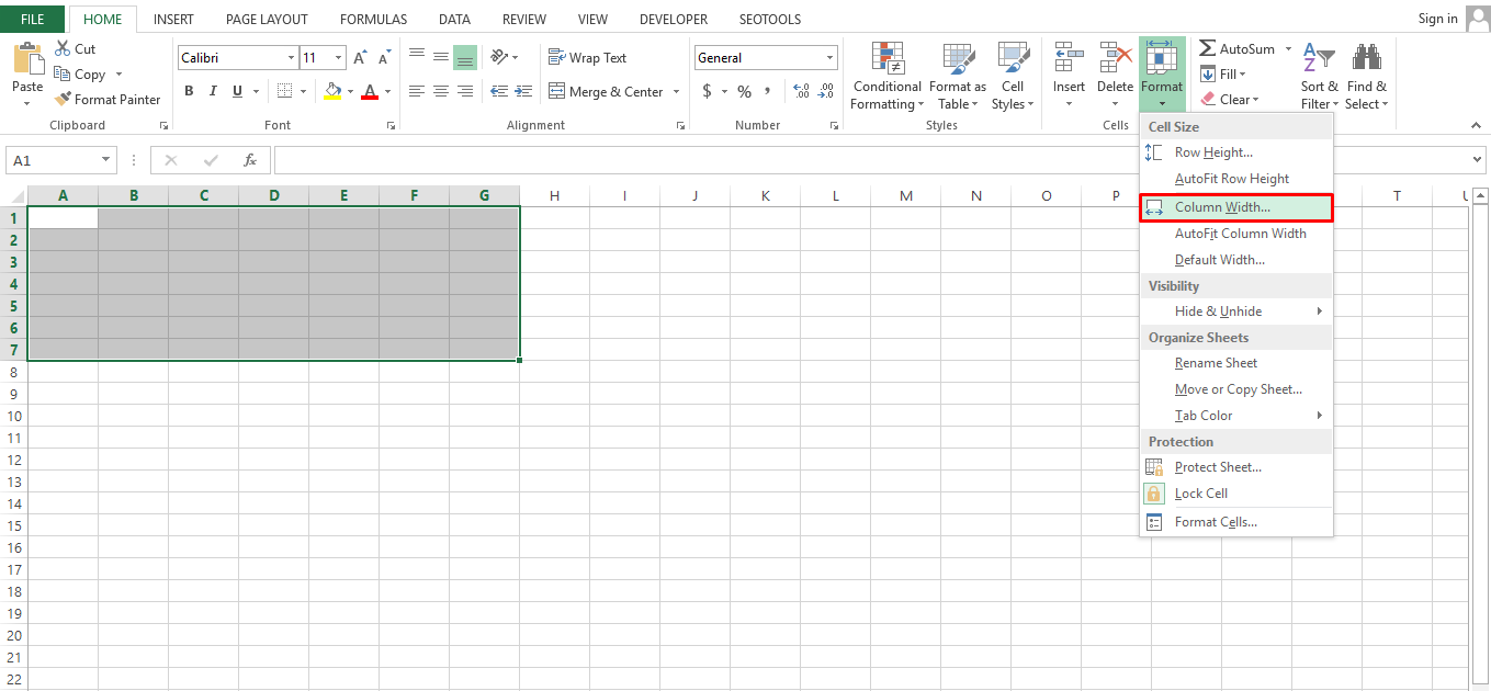 To adjust the column width, go to Format from the Home tab, and select Column width.