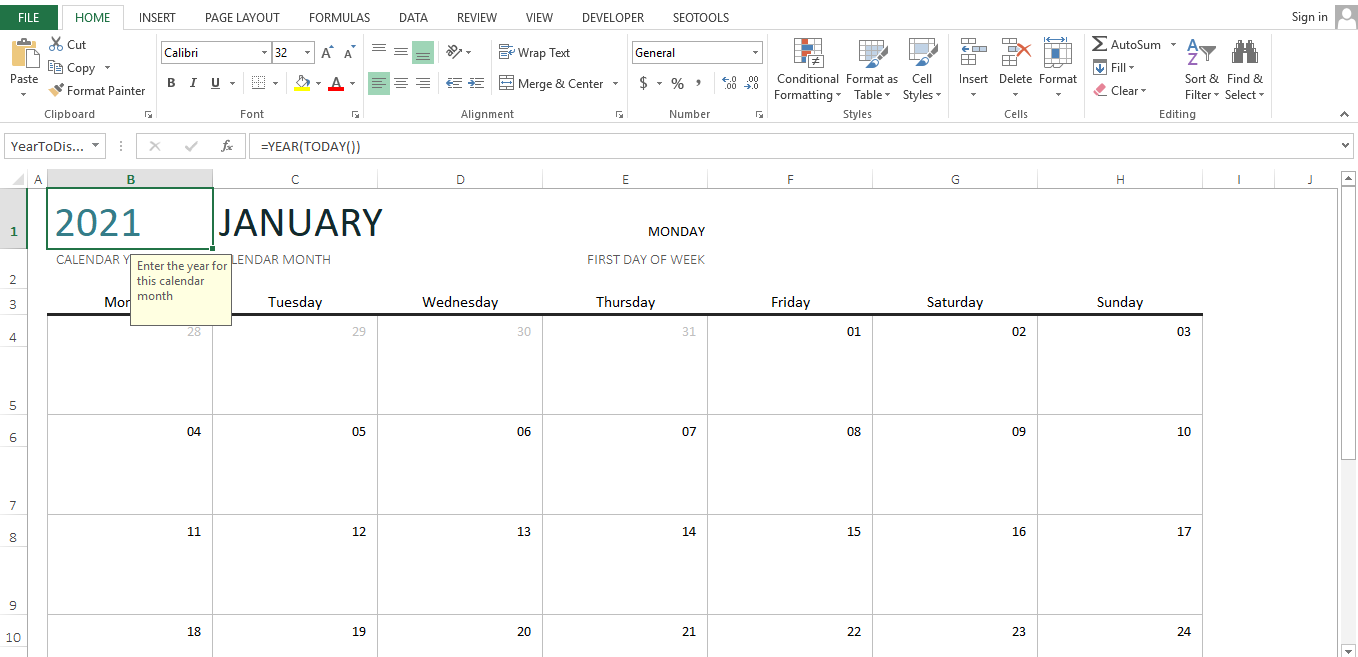 Enter the year of the calendar manually. You can change the year and the month by double-clicking the box and typing in.