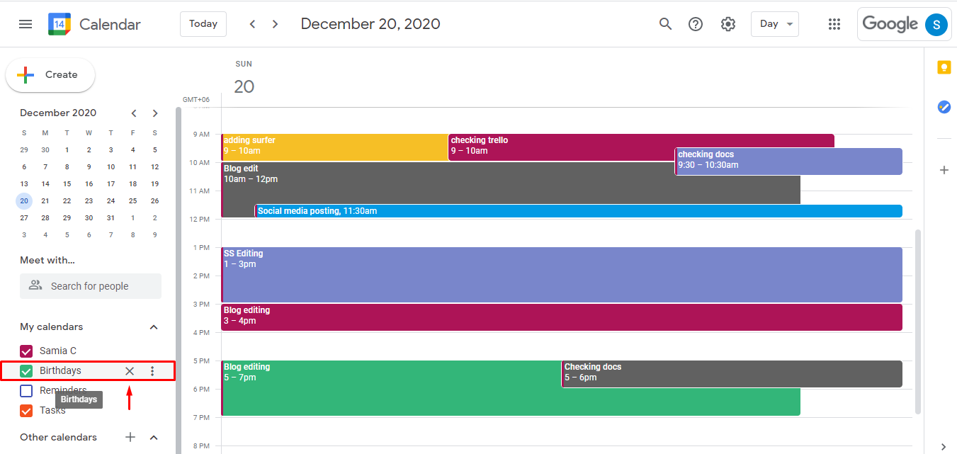 Hover over the calendar you want to delete and click on the three vertical dots.