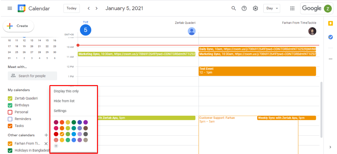 Hover over the calendar you want to hide from the list and click on the three vertical dots to get a list of options.