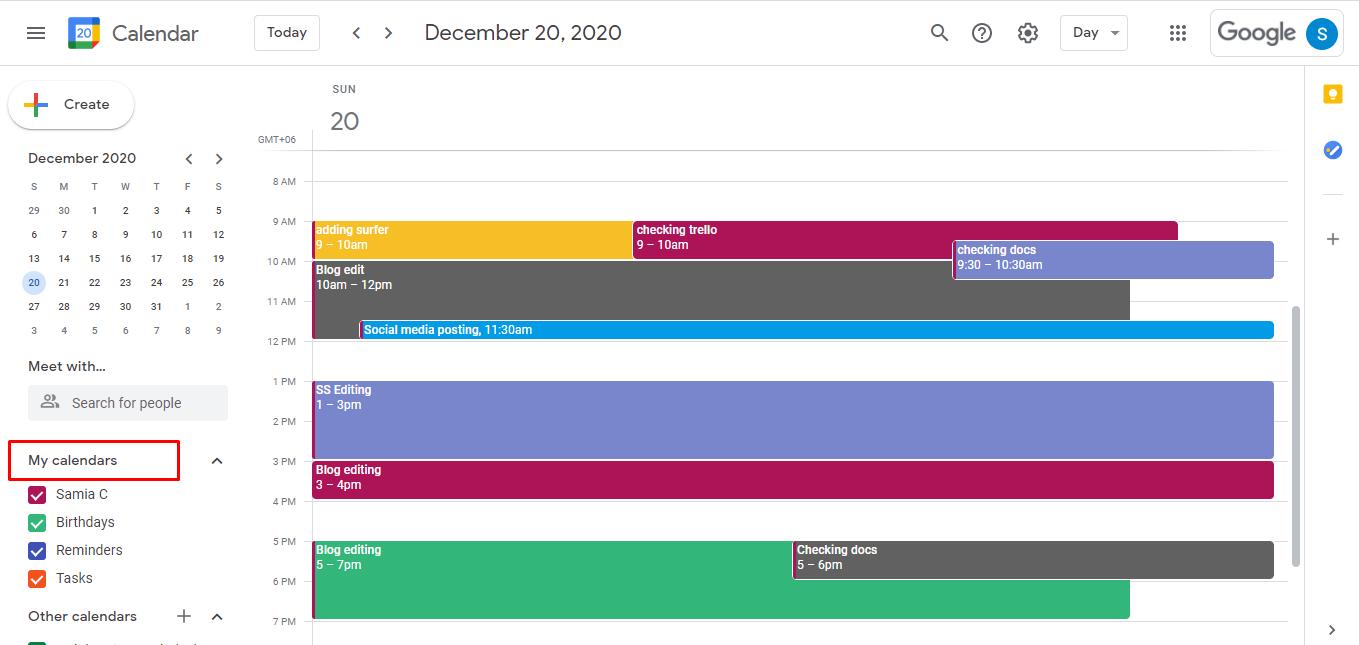 Go to your Google Calendar and scroll down the left menu bar under My calendars.