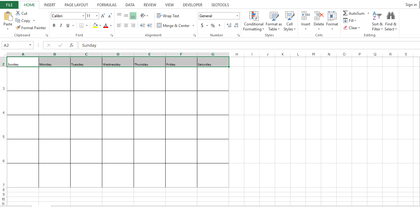 Type the days of the week in cells A2 through G2. Center align them both vertically and horizontally. Now add the days of the current month to make a monthly excel calendar template.