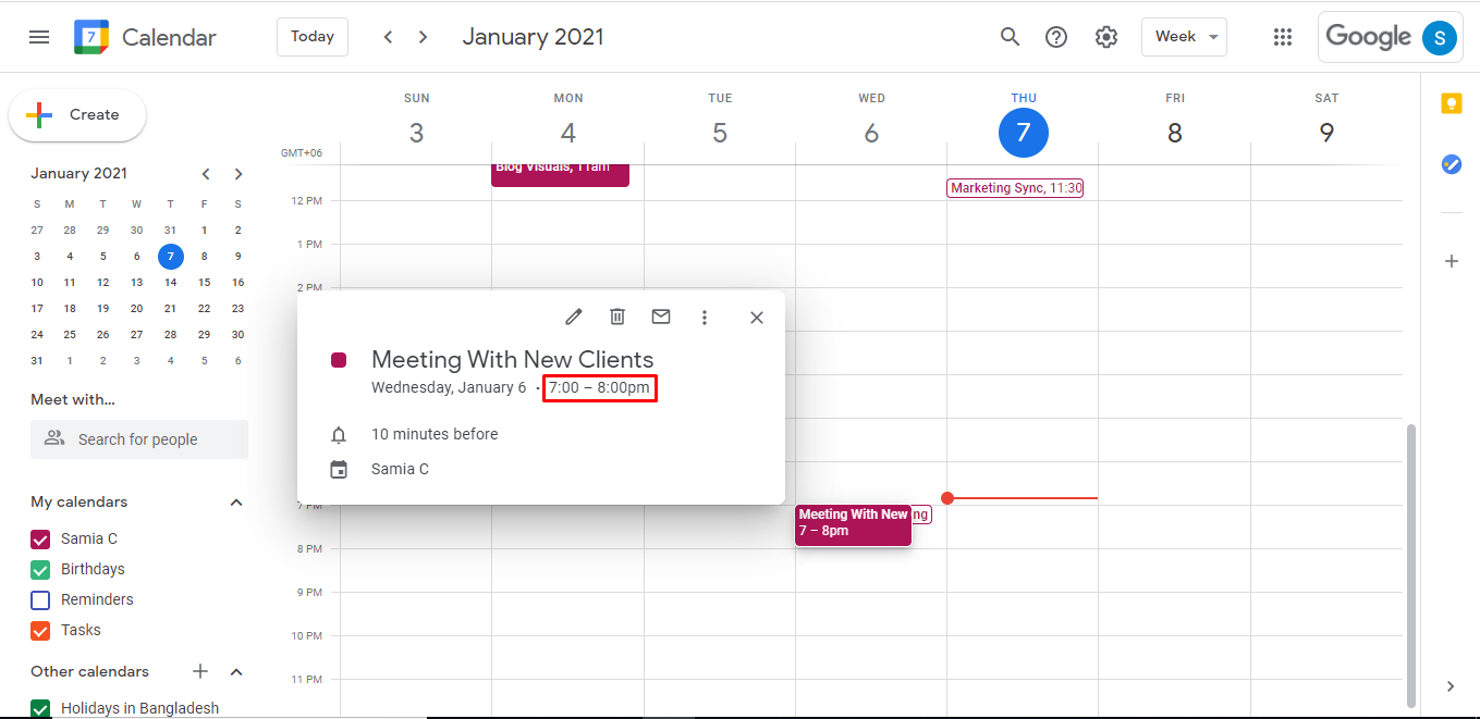 Go back to your calendar, click on the event, and it will show you the start and end times.