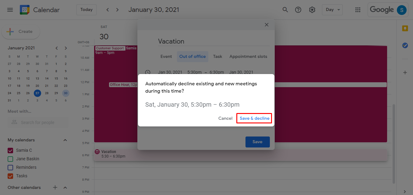 When you click on the Save button, a window with a message will appear asking you to confirm if existing and new meetings would be automatically declined during these days or hours. Click on Save & decline to set the out-of-office message.