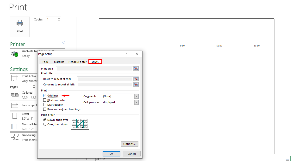 Choose Page setup under Settings, click on the Sheet tab, check the box beside Gridlines.