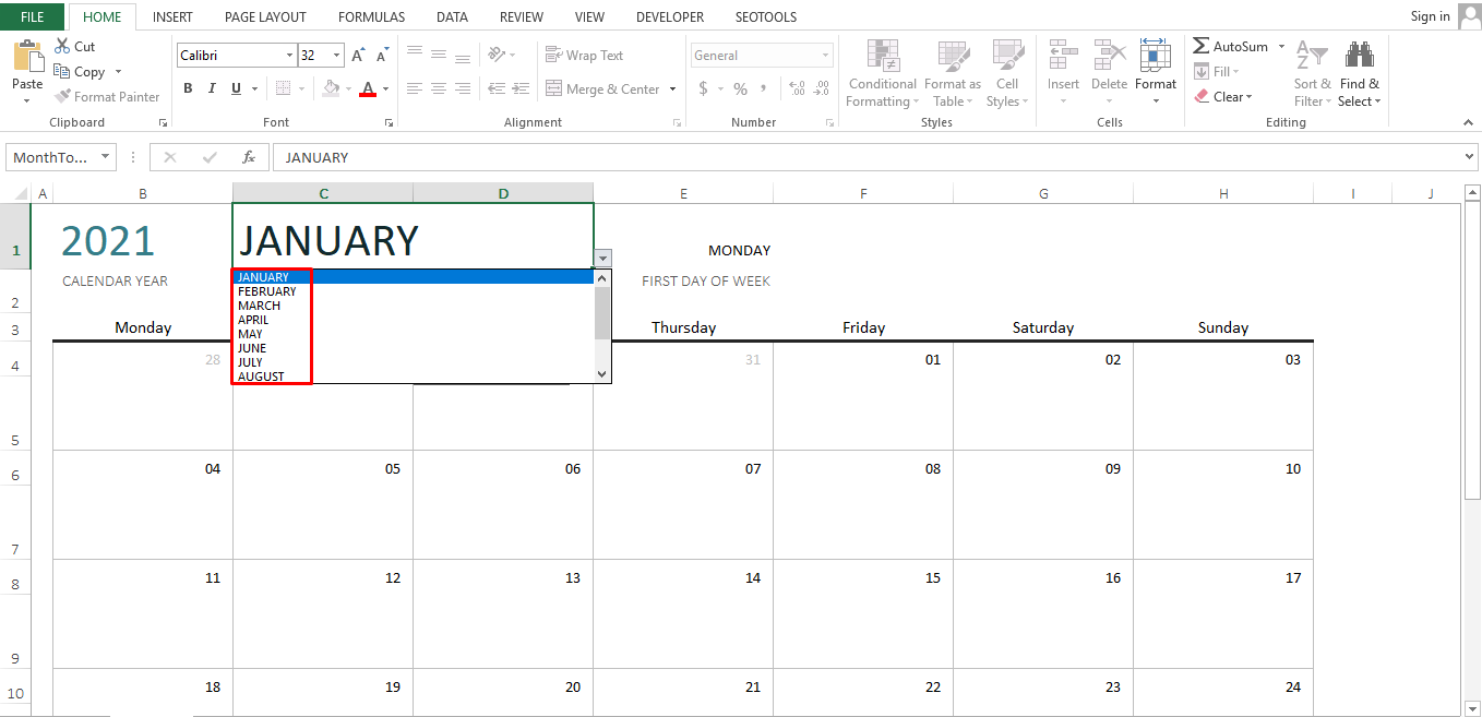 You can either manually type in the name of the month or click Alt and Down keys to get a list of the months from where you can select the month automatically.