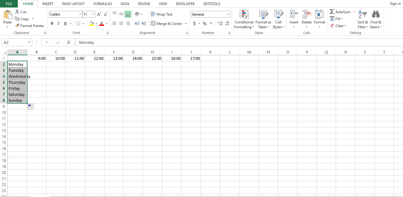 Leave the first row or A1 blank and type out the names of the days in the first column from A2 through A8. Then make the entire column bold.