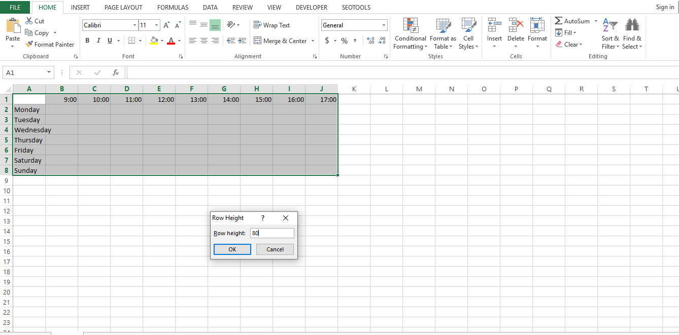 Select all the rows with the names of the days, from the Home tab click on Format and Row height to customize the row size so that it has enough space for you to write in your daily tasks.