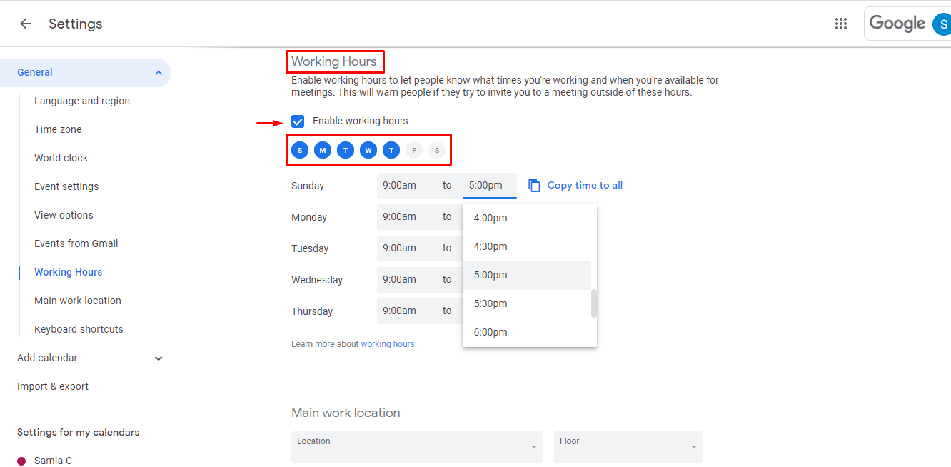 Now set your working days and hours on google calendar by clicking on each field and adjusting the values.