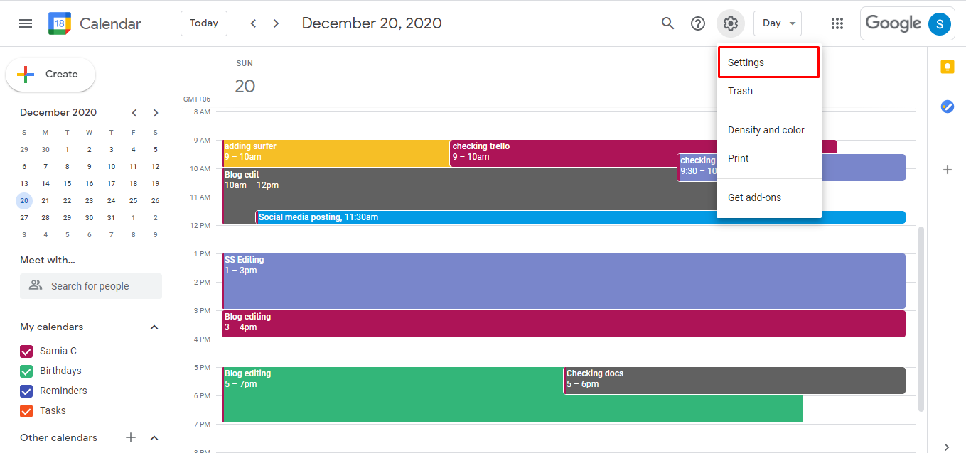 Go to your Google Calendar and click on the Settings wheel and choose Settings.