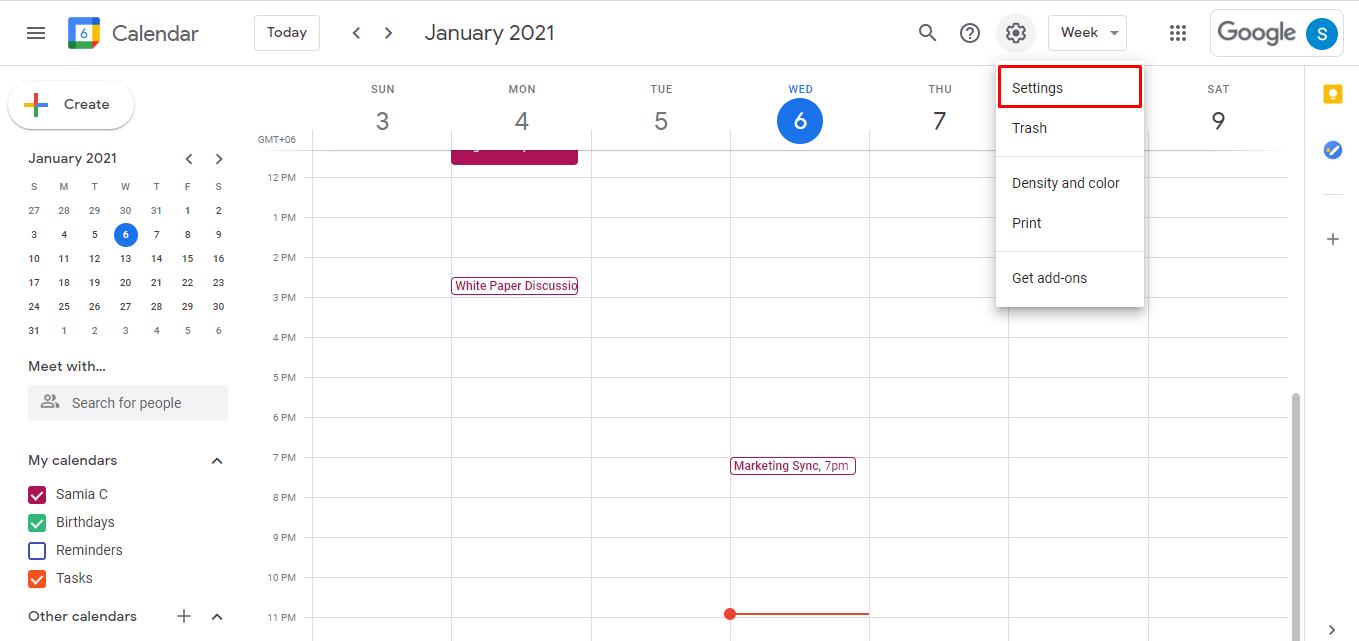 Select settings from your google calendar drop down menu