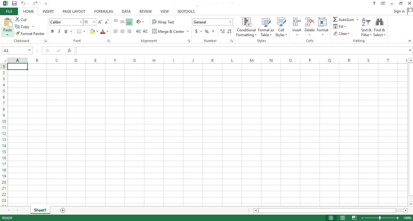 Open a new file in Excel.