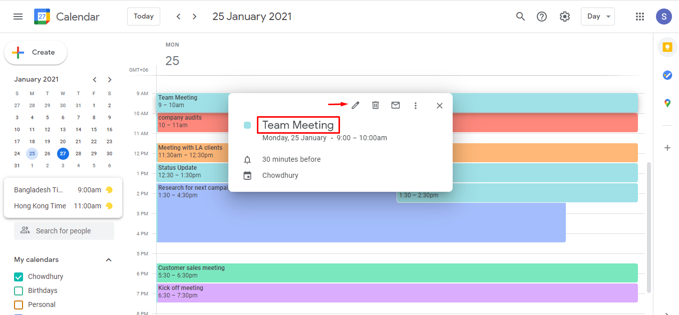 If you have weekly status update meetings, there's no way to forget them as you can set this as a recurring meeting on your calendar. Similarly, if you have events like a conference or an annual general meeting in your schedule, these can be booked as all-day events on the google calendar.