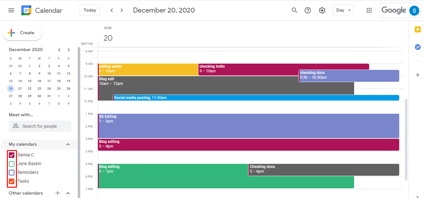 If you don't want to view another calendar on your Google calendar page, simply scroll down the left panel and uncheck the box beside the calendar that you don't want to view. Check it back if you want to view it again.