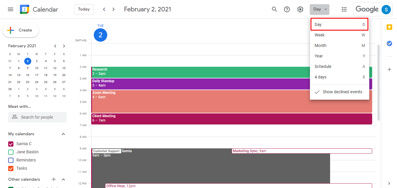 Go to your Google calendar and make sure you're viewing the Day or Week view.