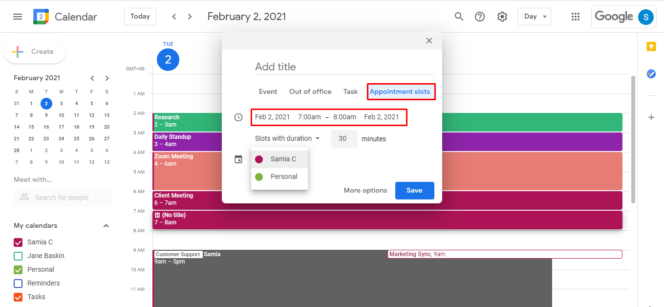 Add in the details like the date on which you want to set up the appointment, the slot duration, and the calendar where you want this appointment block to show up. Click Save after you're done.