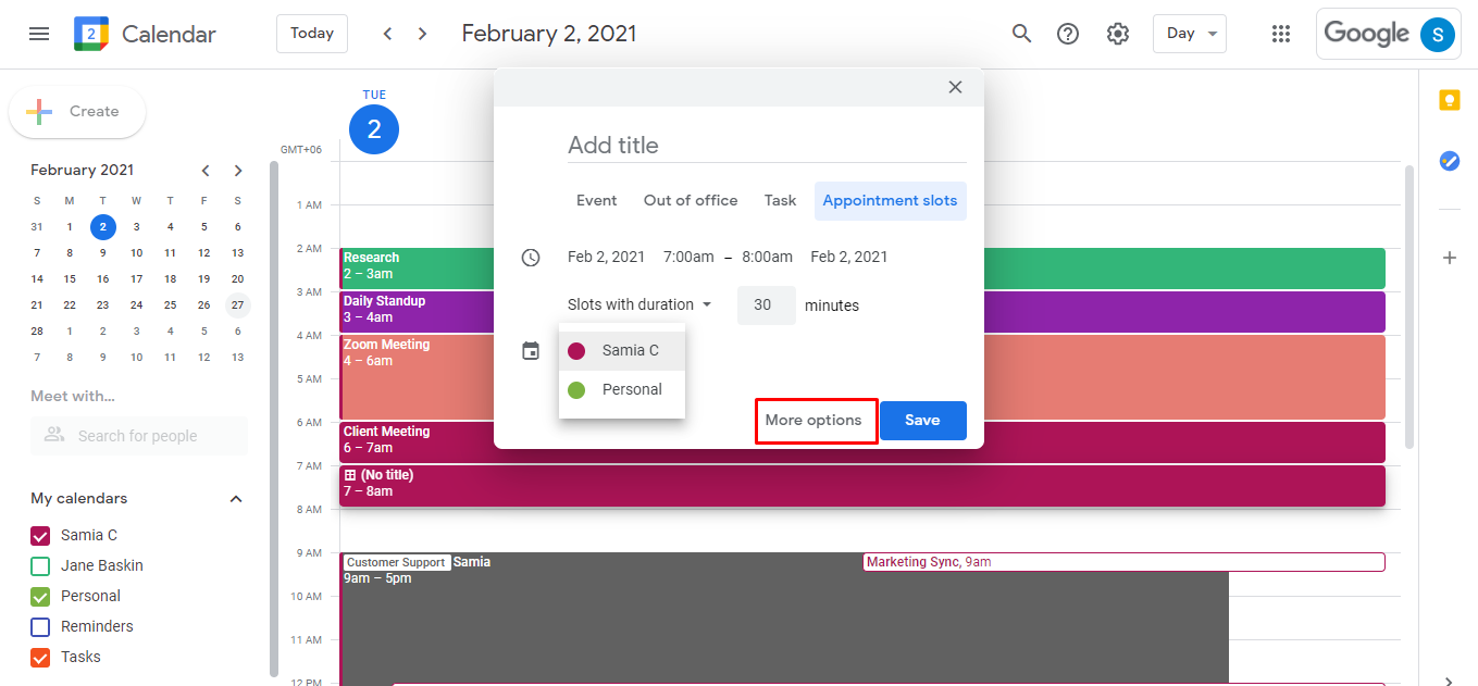 Click on the calendar event, choose Appointment slots, and click on More options.