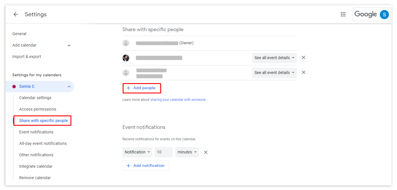 Click on the Add people button and enter the email address of the new owner of your Google calendar.