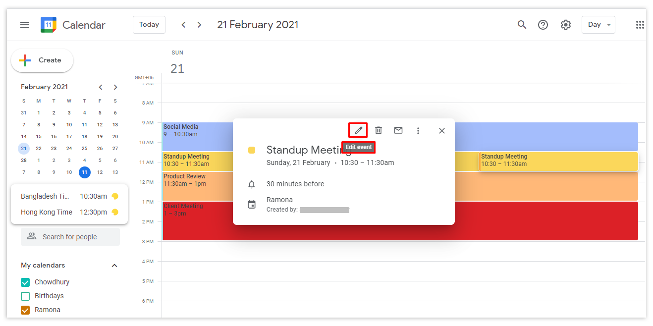 Go to your Google calendar and click on the specific event you want to transfer to another calendar you own. Now click the edit event button.