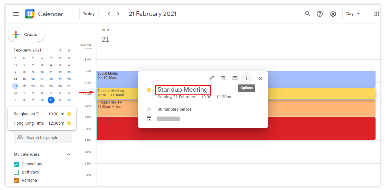 Go to Google calendar from your computer, click on the event you want to make a copy of, and click on Options.