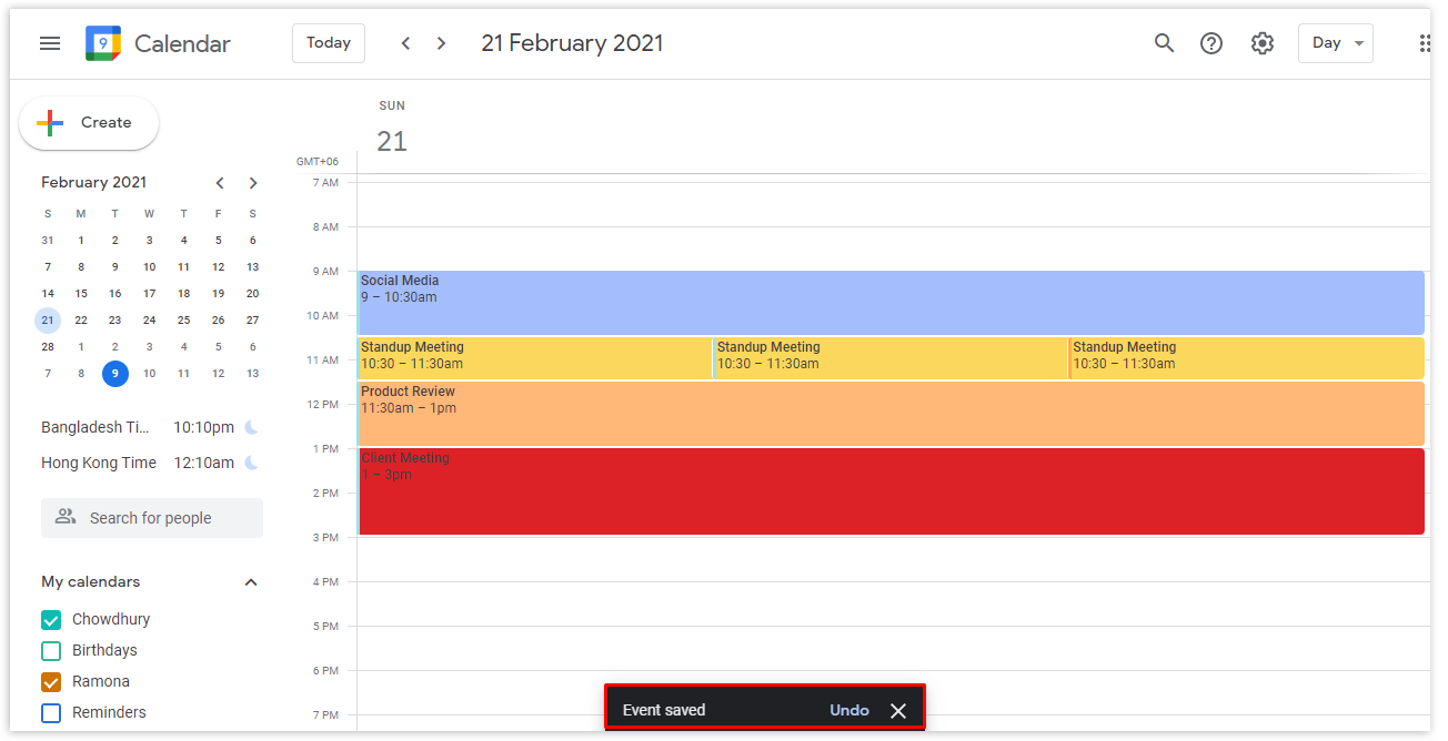 Click on the Save button to complete the process. The event will show on both calendars.
