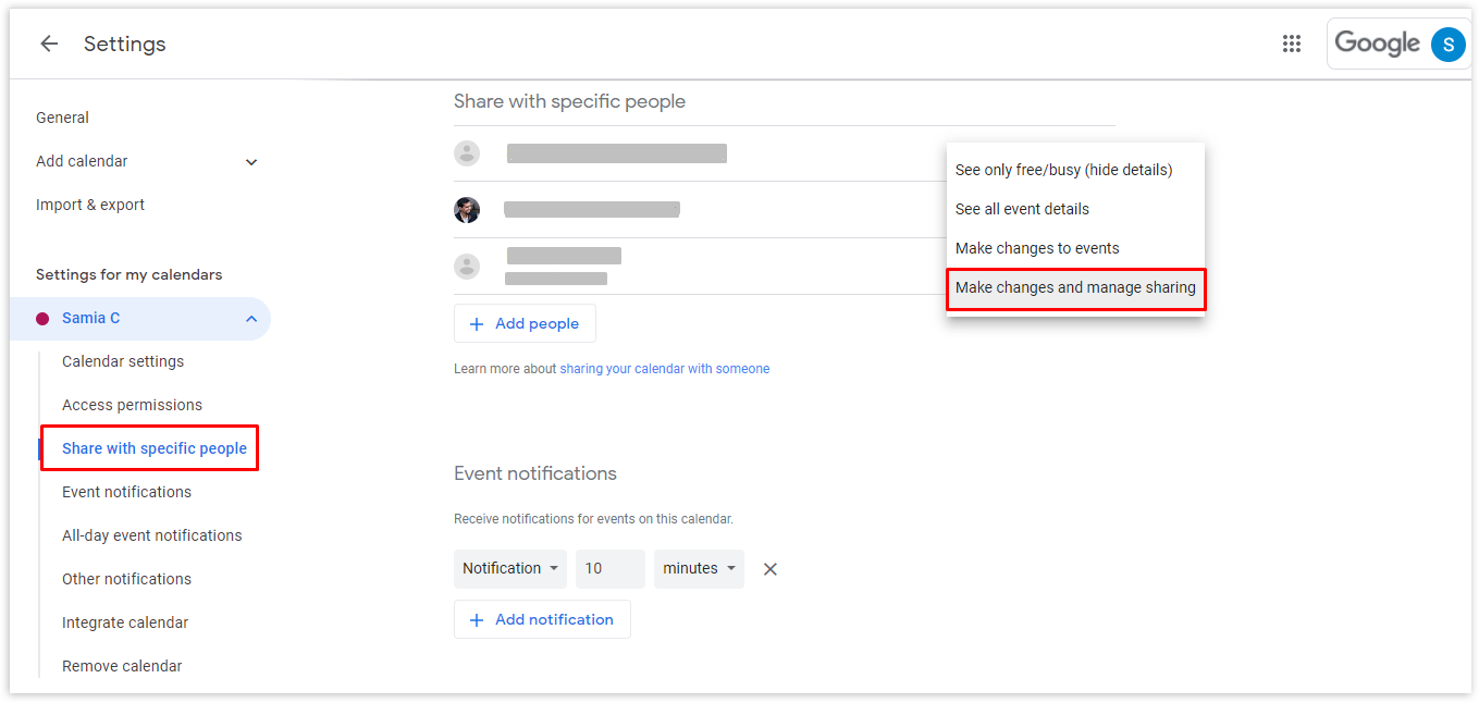 From the dropdown menu beside the email address of the new owner, select the Make changes and manage sharing option and then click Send to transfer ownership. The new owner will receive a link to your calendar.