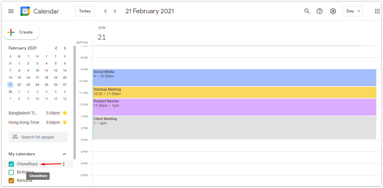 From the left panel, choose the calendar you want to unshare from under My Calendars and hover over the calendar.