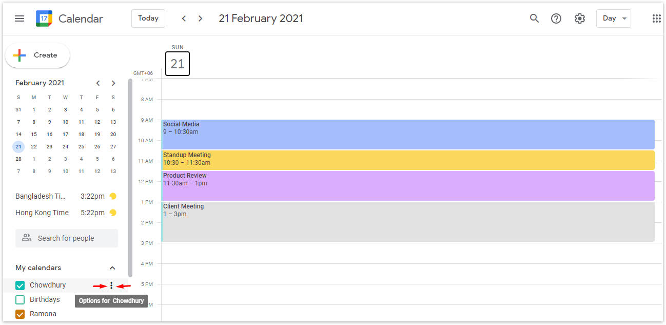 From the left side, locate My calendar and click to expand it to show the full list of calendars. Hover over the calendar you want to stop sharing and click on the three dots.