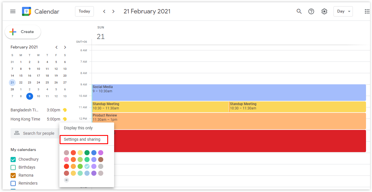 Click on the three dots beside the calendar and from the pop-up window, select Settings and sharing.