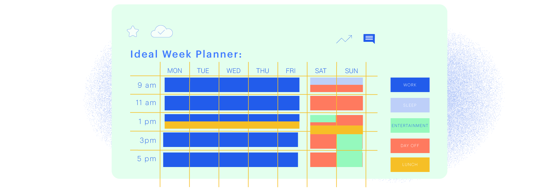Wondering what an ideal weekly planner looks like? You can simply take an excel sheet and convert it to your ideal week plan. Just take seven columns for the seven days of the week. Then put the hours of the day along the left side in a row. You can use this as a printable template too.