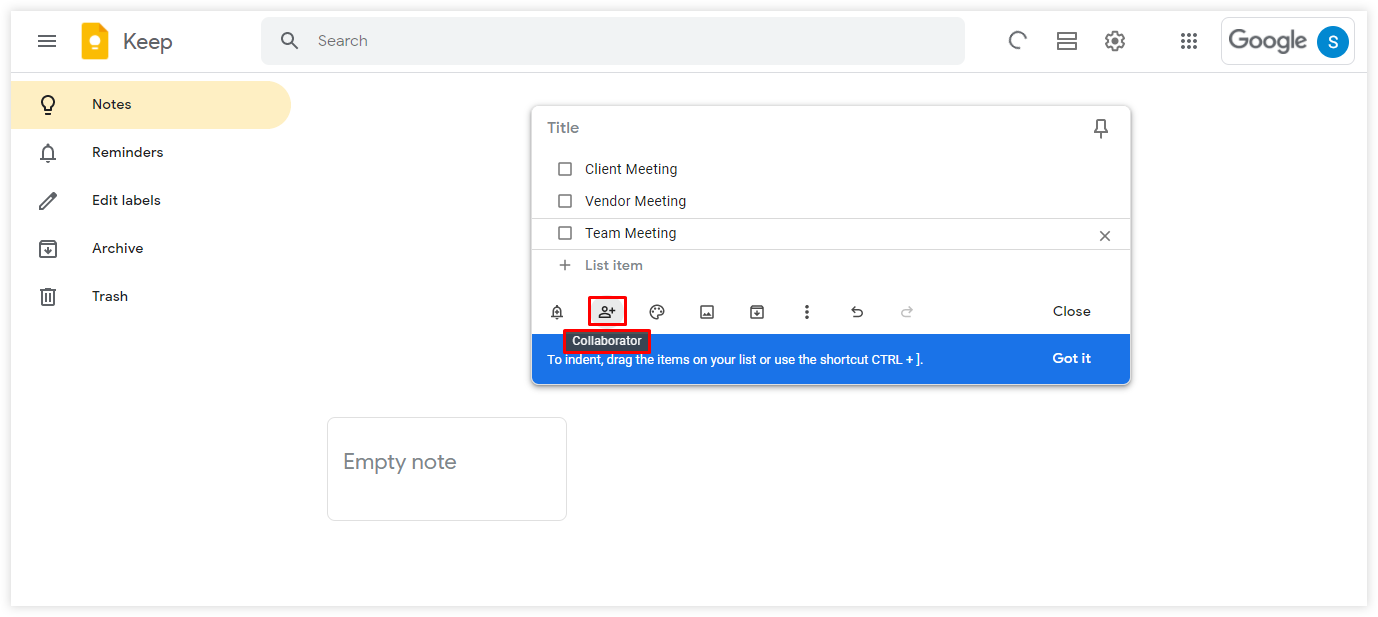 After you are done, click on the collaborator icon from the lower panel, type the email addresses of the recipients to share Google tasks with, and click save.